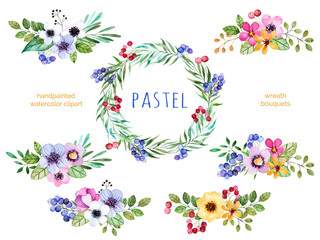 Colorful floral collection with multicolored flowers,leaves,branches,berries and more.6 beautiful bouquets and 1 wreath for your own design.Pastel collection.Perfect for wedding,invitation,patterns