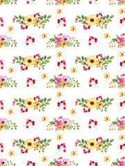 Watercolor floral seamless pattern with multicolored flowers,leaves,berries.Colorful floral texture.Spring or summer illustration for invitation,wedding or greeting cards,can be used for wallpapers