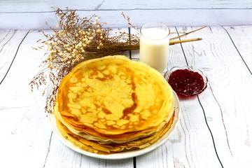 breakfast, cream, milk, pancake, food, homemade, plate