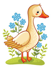 Farm animal. Vector illustration of a goose on a floral lawn.