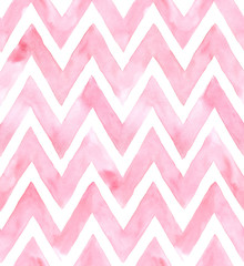 Chevron of pink color on white background. Watercolor seamless pattern