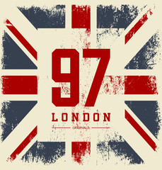 Vintage United Kingdom flag tee print vector design. Premium quality superior number logo concept. London t-shirt and hoodie wear emblem.