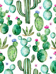 Spoed Fotobehang Aquarel Natuur Seamless pattern with high quality hand painted watercolor cactus plants and purple flowers.Pastel colors,Perfect for your project,wedding,greeting card,photos,blogs,wallpaper,pattern,texture and more