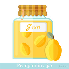 flat icon glass jar of pear jam