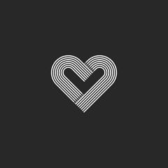 Heart logo monogram wedding invitation decoration design element, offset parallel line geometric shape