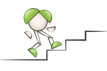 Merdiven çıkan çizgi karakter. Zorluklarla mücadele etmek.