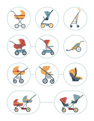 Baby carriage icons set. Different types of children's transport: pram, stroller, baby carriage, car seat, bicycle trailer, stroller for twins.