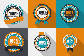 Vector 100% Satisfaction Quality Label Set in Flat Modern Design