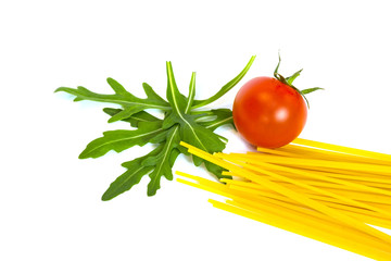 Ruccola, tomato and spagetti isolated