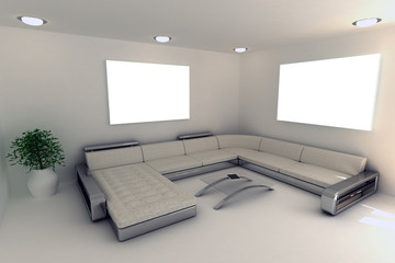 Living room wall picture mockup 3d render