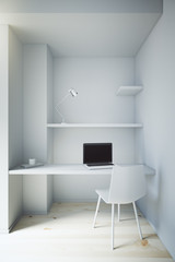 Small white workspace