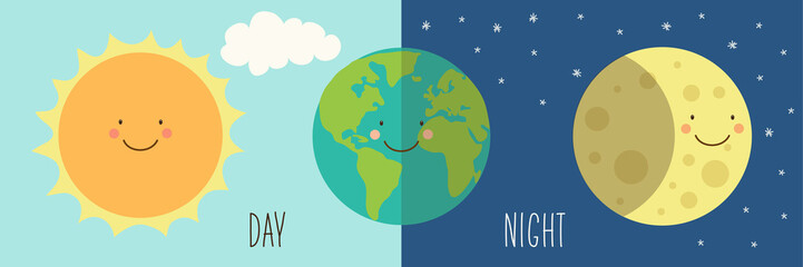 Cute smiling cartoon characters of Sun, Earth and Moon as Day and Night