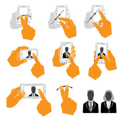 Set of Hand Holding Upright Mobile Phone Flat and Style Icons