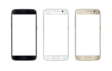 Modern smart phone in three color. White screen for mockup, isolated. Fotoväggar