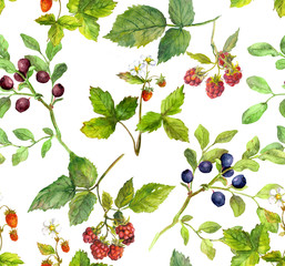 Summer background with berries - raspberry, strawberry, bilberry. Watercolor