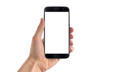 Modern black smart phone in man hand in horizontal position. White screen for mockup, isolated.