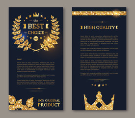 Flyer design layout template gold laurel wreath