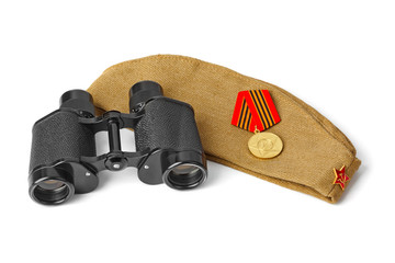 Soviet Army soldiers forage-cap and binoculars