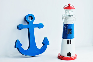 Sea decorative objects on white background.