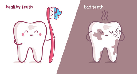 healthy tooth, bad tooth