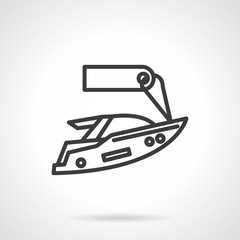 Yacht for rent black line design vector icon