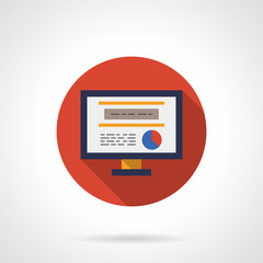 Web analytic icon round flat color vector icon