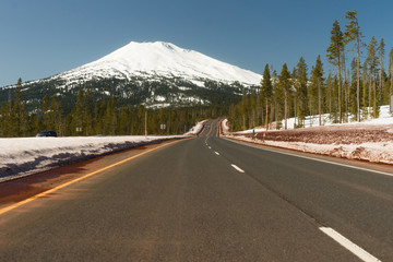 Road to Mt. Bachelor Ski Resort Cascade Range