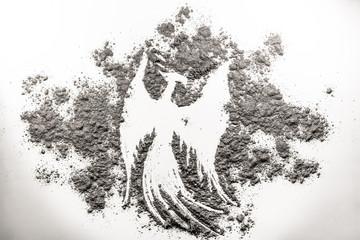 Phoenix bird illustration, rebirth in the ash