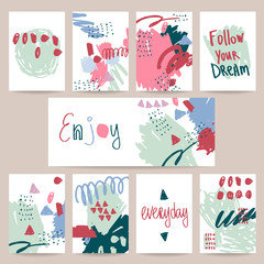 Set of cute creative cards with hand drawing design.