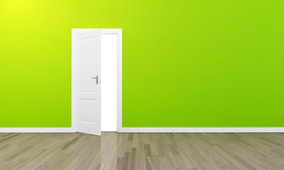 Oppen door large green wall and wooden floor
