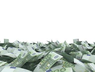 Euro 100 notes isolated on white background