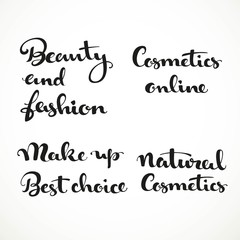 Cosmetic calligraphic inscription on a white background