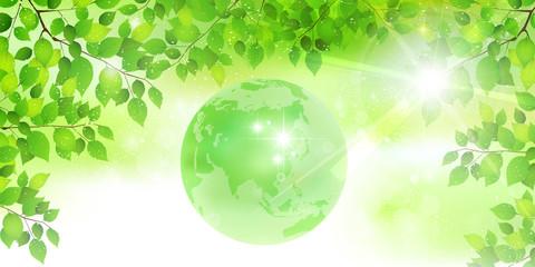 葉 新緑 地球 背景