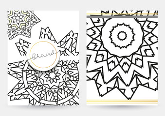 leaflet with white mandala . Realistic brochure grey mandala . Zentangle in white and gray colors. Zentagle gray. Sacred geometry.