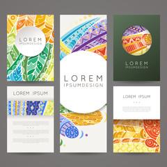 Set of vector design templates. Brochures in random colorful style. Zentangle designs.