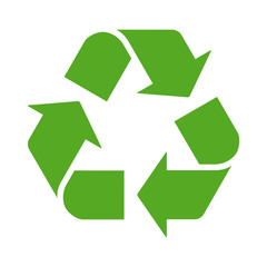 Green recycle or recycling arrows flat icon for apps and websites