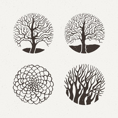 Circle trees set. Vector illustration. Pattern geometric figure.