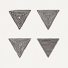 Triangle textures set. Vector illustration. Pattern geometric figure.