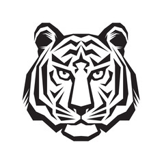 Tiger head - vector logo concept illustration in classic graphic style. Tiger head silhouette sign. Tiger head tattoo vector illustration. Bengal tiger head creative illustration. Black & white.