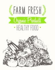 Organic farm food poster healthy sticker drawn