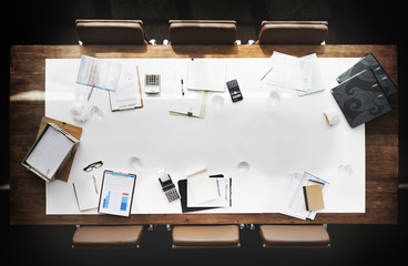Board Room Conference Meeting Table Copy Space Working Concept