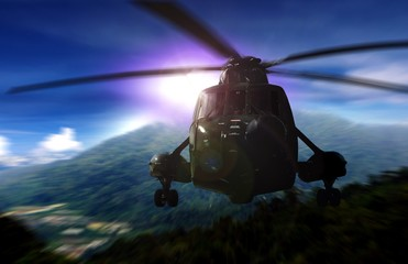 Helicopter on a rescue mission in a mountain