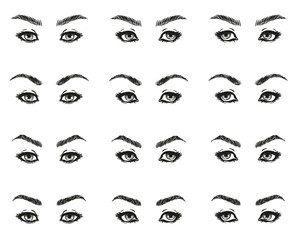 Icons set female eyes look with long eyelashes and eyebrows different shapes look ahead to the left to the right, black and white to show the make-up design diagrams and instructions, isolated vector