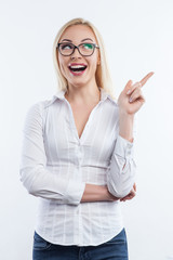Cheerful young businesswoman has a great idea