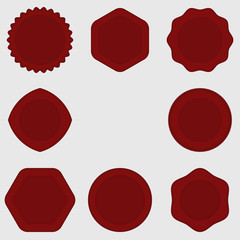 Set of Stamps . Red Stamps .Texture . Post Stamp Collection . Vector Stamps . Circle Stamps .
