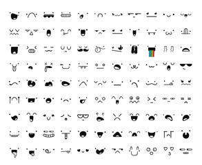 Set of 99 different pieces of doddle emotions to create characters. Emotions for design. Anime. Anger and joy. Surprised and hurt. Indifference and shock. Laughter and tears. Emotions handmade