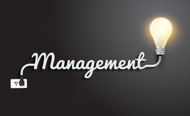Management concept with creative light bulb idea