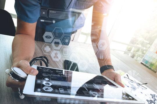Medicine doctor hand working with modern digital tablet computer
