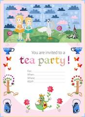 Childish tea party invitation. Fairy illustration. Cute vector t