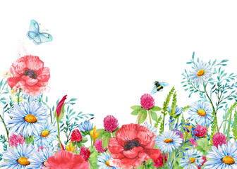postcard. illustration in watercolor.,butterfly
